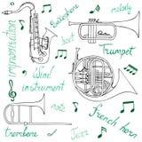 Set pociągany ręcznie wiatrowi instrumenty muzyczni, notatki i literowanie, ilustracji