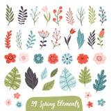 Set pociągany ręcznie wiosna kwiaty ilustracja wektor