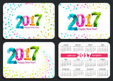 Set of  pocket calendars 2017. Set of sunday start pocket calendars 2017 with white cover. Vector Stock Photos