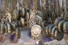 Set of pocket watches hanging Stock Images