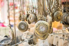 Set of pocket watches hanging Royalty Free Stock Images
