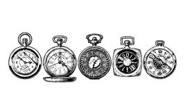 Set of pocket watches Stock Photography