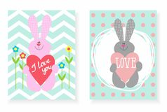 Set pocztówka królik z sercem Fotografia Royalty Free