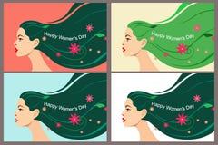 Set pocztówki dla kobieta dnia Marzec 8 Piękna głowa dziewczyna z płynąć jaskrawego włosy z liśćmi, kwiatami i tekstem, wektor royalty ilustracja