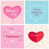 Set pocztówki z sercami, szczęśliwy walentynka dzień ilustracji