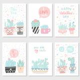 Set pocztówki z sukulentami i kaktusami obraz stock