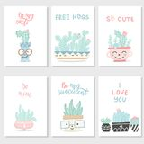Set pocztówki z sukulentami i kaktusami zdjęcia stock
