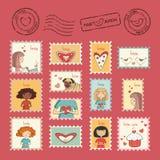 Set poczta znaczki Obraz Stock