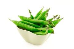 Set pod green pea bean vegetable ceramic bowl on white background farmer crop design stock photo