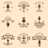 Set of podcast, radio emblems with microphone. Design element for logo, label, sign, badge, poster. Vector illustration stock illustration