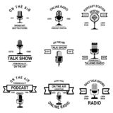Set of podcast, radio emblems with microphone. Design element for logo, label, sign, badge, poster. Vector illustration royalty free illustration