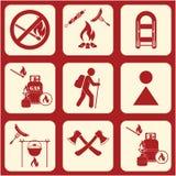Set podróż i campingowe wyposażenie ikony Fotografia Stock