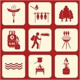 Set podróż i campingowe wyposażenie ikony Zdjęcia Royalty Free
