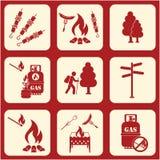 Set podróż i campingowe wyposażenie ikony Obrazy Stock