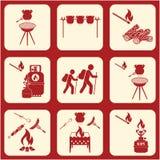 Set podróż i campingowe wyposażenie ikony Obraz Stock