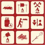 Set podróż i campingowe wyposażenie ikony Fotografia Royalty Free