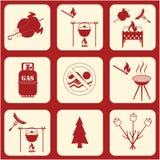 Set podróż i campingowe wyposażenie ikony Obrazy Royalty Free