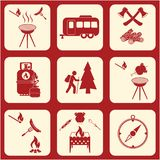 Set podróż i campingowe wyposażenie ikony Zdjęcie Stock