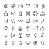 Set podróży ikony w nowożytnym cienkim kreskowym stylu Zdjęcia Royalty Free