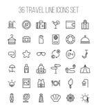 Set podróży ikony w nowożytnym cienkim kreskowym stylu Zdjęcie Royalty Free