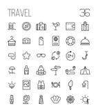 Set podróży ikony w nowożytnym cienkim kreskowym stylu Zdjęcie Stock