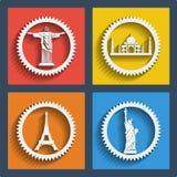 Set 4 podróży wiszącej ozdoby i sieci ikony. Wektor. Zdjęcie Royalty Free