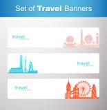 Set podróż sztandary Fotografia Royalty Free