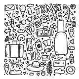 Set podróży doodle symbole w wektorze royalty ilustracja