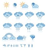 Set pogodowe błękitne ikony Zdjęcia Royalty Free