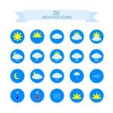 Set 20 pogodowych ikon Płaskich wektorowych ikon na błękitnym tle ilustracja wektor