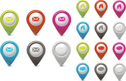 Set Pointer Email Chat and Home Stock Photography