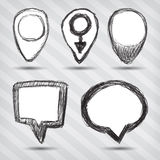 Set of pointer icons. On a striped baclground Royalty Free Stock Photos