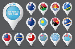 Set the pointer to the map with the flag of the countries of Oce Royalty Free Stock Photo