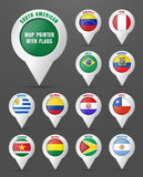Set the pointer to the map with the flag of South American count Royalty Free Stock Image