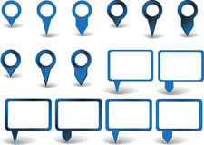 Set of pointers. Set of blue pointers on white background with shadows Royalty Free Stock Images