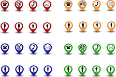 Set of pointers. In four colors with family and comunication symbols Stock Photography