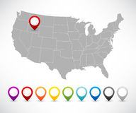 Set of pointers with map of the United States Royalty Free Stock Photography