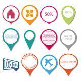Set pointers maps, vector illustration. Stock Photography