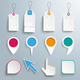 Set Pointers Markers Price Stickers Royalty Free Stock Photos