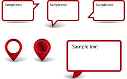 Set of pointers. Set of red pointers on white background with shadows Royalty Free Stock Image