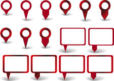 Set of pointers. Set of red pointers on white background with shadows Royalty Free Stock Images