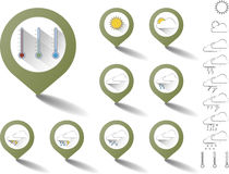 Set of pointers with weather icons Royalty Free Stock Image