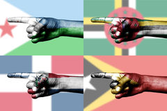 Set of pointing finger in national flags Royalty Free Stock Photo