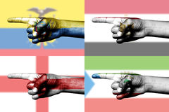 Set of pointing finger in national flags Stock Images