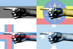 Set of pointing finger in national flags Royalty Free Stock Photography