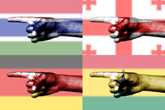 Set of pointing finger in national flags Stock Photography