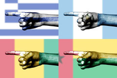 Set of pointing finger in national flags Stock Photo