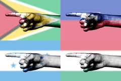 Set of pointing finger in national flags stock photos