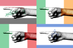 Set of pointing finger in national flags Royalty Free Stock Images