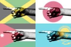 Set of pointing finger in national flags Stock Image